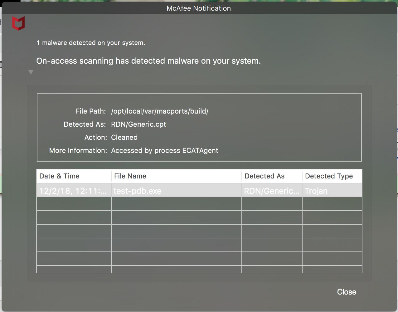 57713 (McAfee virus scanner caught something in 'test-pdb